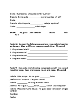 Spanish I Realidades 1A 1 Me gusta Hobbies TEST 35 PTS incl format guide answers
