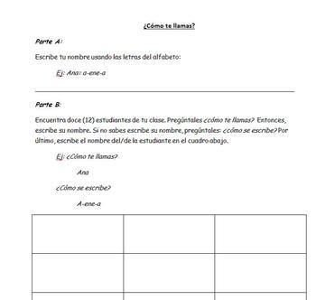 Spanish I (Realidades PE) Alphabet Oral Activity with Names