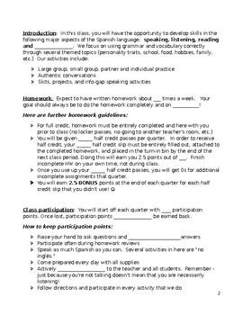 Spanish I Syllabus Middle School High School FULLY EDITABLE WORD! WL French Germ
