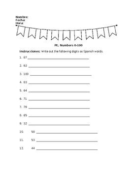 Spanish I  Telling Time and Numbers 0-100 Quiz Worksheet Practice Homework key