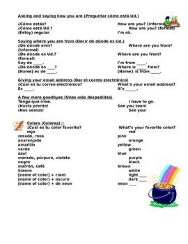 Spanish I Unit, 18 pages: Basic questions, introductions, colors