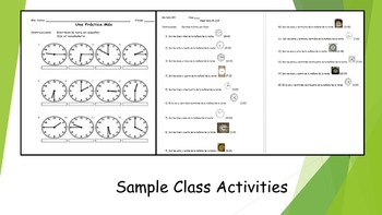 Spanish I Unit- Classes, Class Preferences, and Telling Time w/ Schedule Project