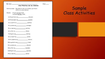 Spanish I Unit- Colors and Color Agreement