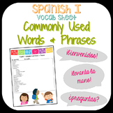 Spanish I Vocab Sheet- Commonly Used Words & Phrases