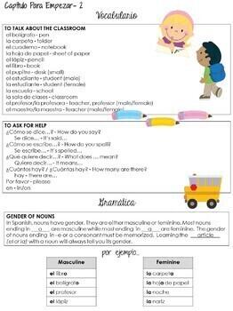Spanish I Vocabulary Sheet- Realidades I, Capítulo Para Empezar (parts 1&2)