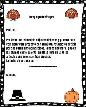 Spanish I am Thankful Turkey