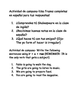 Spanish I bellwork after school vocabulary, ir + a + infinitive, the verb ir
