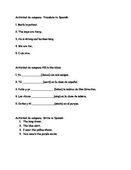 Spanish I bellwork descriptions of people, -ar verbs, el, la, los, las