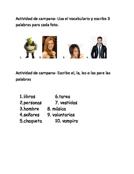 Spanish I bellwork packet