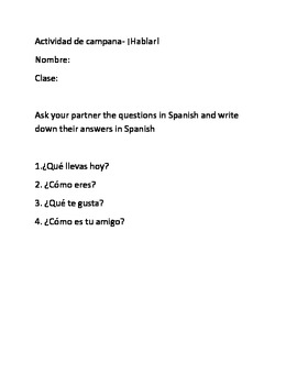 Spanish I bellwork packet
