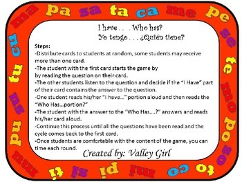 I have...Who has?: Spanish  Syllables M, P, T, S y C - Yo tengo ...¿Quién tiene?
