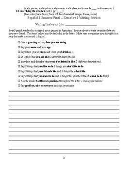 Spanish I semester 1 exam review guide