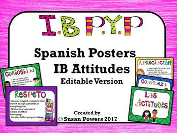 Spanish IB PYP Attitudes Posters Editable