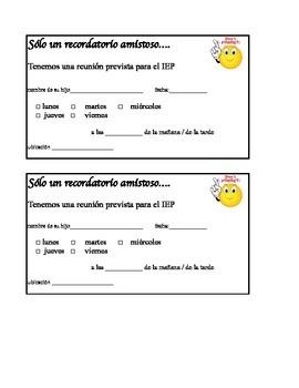 Spanish IEP meeting reminder