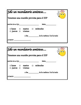 Spanish and English IEP meeting reminder