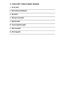 Spanish II Commands Test with numbers and vocab