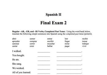 Spanish II Final Exams 1 & 2