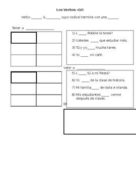 Spanish II- Irregular Present Tense Conjugation Student Note Sheet