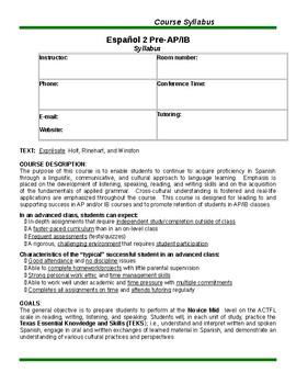 Spanish II (Pre-AP/IB) class syllabus