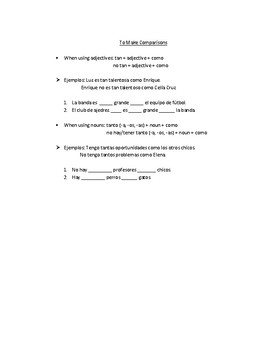 Spanish II Realidades 1B Matching - Extracur. Act., Saber/Conocer, Comparisons