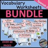 Spanish II Vocabulary Worksheets BUNDLE
