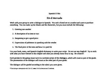 Spanish II skit assignments bundle
