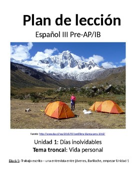 Spanish III lesson plans and materials - Aunténtico Capítulo 1