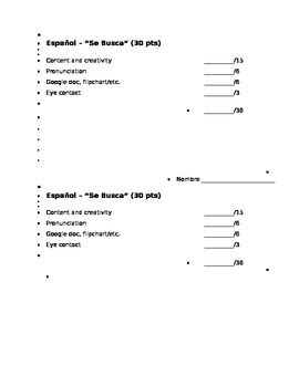 Spanish Se Busca (Wanted) Presentation and Score Sheet