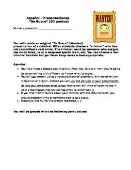 Spanish I/II/III Se Busca (Wanted) presentation with score sheet
