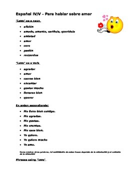 Spanish III/IV/V Love vocabulary list & love letter composition/Valentine's Day