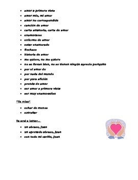 Spanish Valentine's Day Love Vocabulary List and Love Letter Composition