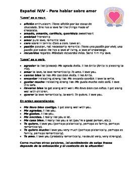 Spanish III/IV/V Love vocabulary list & love letter compos