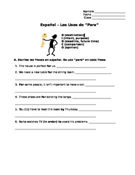 Spanish Por y Para Unit (13 pages with handout, written practices, tests)