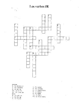 Spanish -IR Verb Crossword