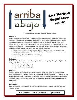 Spanish IR Verb Partner Activities (Speak, Read, Listen, Write)