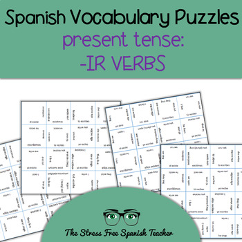 Spanish Vocabulary Puzzle -IR Verbs, Present Tense Conjugation