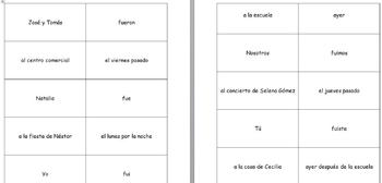 Spanish IR/SER Differences Preterite Grouping Card Activity