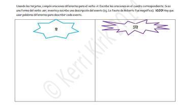 Spanish IR/SER Differences Preterite Grouping Card Activity