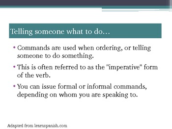 Spanish IV, Spanish V, IB, direct/indirect object pronouns, commands, mandatos