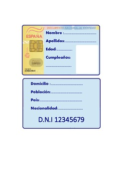 Spanish Identity card activity .