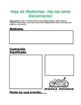 Spanish Idioms Worksheet- Hoja de modismos