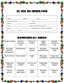 Spanish Immersion Day- Dia de Inmersion Activities