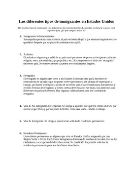 Spanish Immigration Unit: Different Immigrant types reading/questions