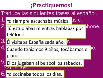 Spanish Imperfect -AR Verbs Powerpoint & Notes
