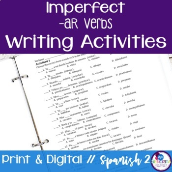 Spanish Imperfect -AR Verbs Writing Exercises
