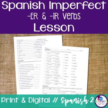 Spanish Imperfect -ER & -IR Verbs Lesson