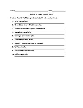 Spanish Imperfect -ER and -IR Verbs Worksheets Practice Pack