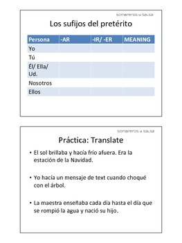 Spanish Imperfect (El imperfecto) Guided Notes Handout for Students