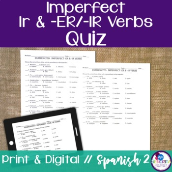 Spanish Imperfect Ir & -ER/-IR Verbs Quiz