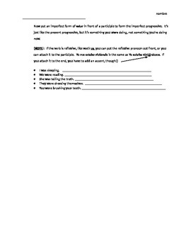 Spanish Imperfect Progressive review worksheet
